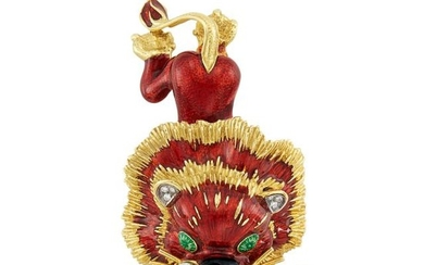 Gold, Enamel and Diamond Lion Clip-Brooch, Hammerman Brothers