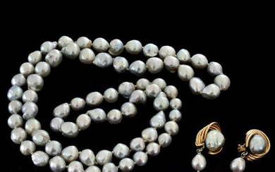 Grey Pearl Necklace and Earrings