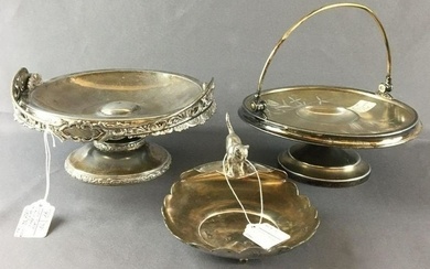 Group of 3 Antique SilverPlate Fruit Basket Trays and