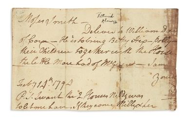 HENRY, PATRICK. Fragment of an Autograph Letter, to Moses Smith