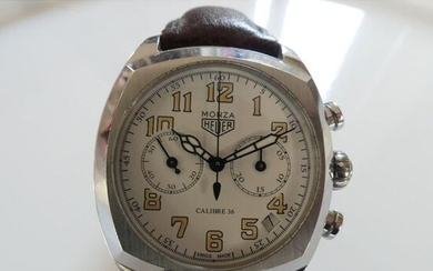 HEUER. Steel chronograph watch Monza model. Reissue calibre 36. Steel...