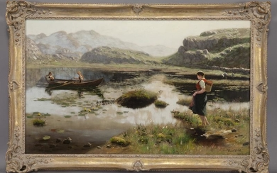 """Hans Dahl """"Young Woman at Lake"""" oil on canvas."""