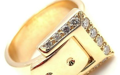 Hermes 18k Yellow Gold Diamond Buckle Band Ring Size 52