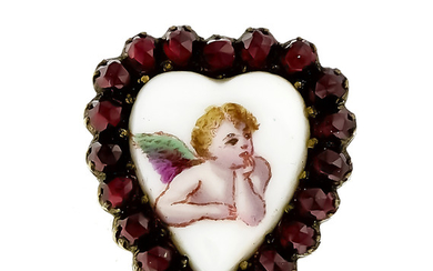 Heart brooch with round faceted garnets 3 mm...