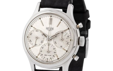 Heuer. Fine and Rare Pre carrera Chronograph Wristwatch in Steel, Reference 2444, Retailed by Beyer Zurich With Box