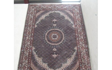Indian Machine Woven Floor Rug with Central Medallion Design...