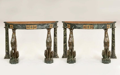 Italian bronze & marble console tables, hounds