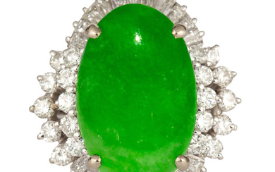 Jadeite, diamond, 14k white gold ring