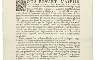 """LILLE (NORTH). 1687. BEAVER HATS, VICUNA & OTTERS. """"We Reward, Mayeur, Echevins, Council of Eight Men of the City of LILLE, We being made to represent our Political Ordinance of the 22nd April last concerning the conservation of the Manufacture of..."""