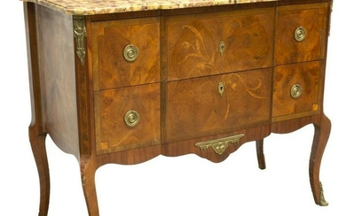 LOUIS XVI STYLE MARBLE-TOP MARQUETRY COMMODE