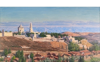 LUDWIG BLUM (1891 - 1974) OIL PAINTING ON CANVAS Panoramic v...