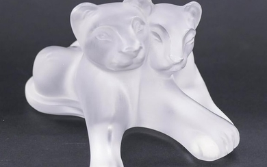 Lalique ''Tambwee Lion Cubs'' Crystal Figurine 5.5''. A