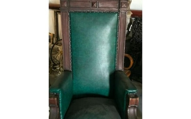 Late 19thc Eastlake Upholstsered Swivel Arm Chair