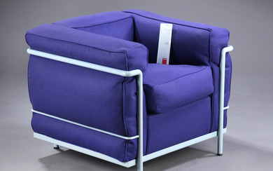 Le Corbusier. LC2 lounge chair in purple wool with certificate.