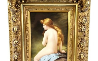 Magnificent 19th C. KPM Plaque of Nude Woman