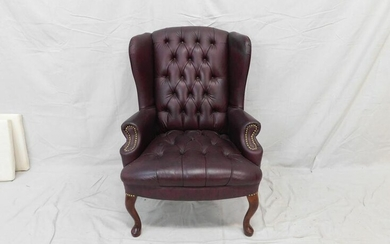 Maroon Queen Anne Wingback Chair