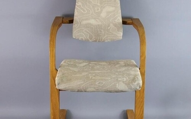 Mid-20th century modern rocking chair, teak frame, unusual d...