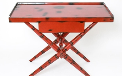 Modern Asian Manner Red Lacquer Console Table