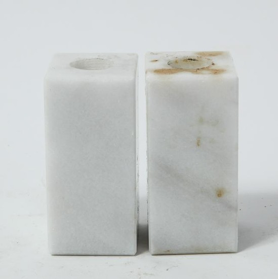 Modernist Marble Block Candle Holders, Pair