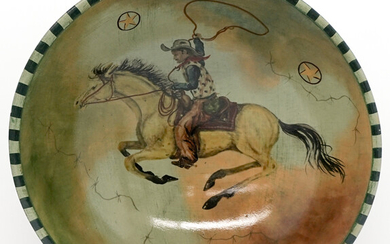 Monumental Tracy Porter Hand Painted Wood Bowl