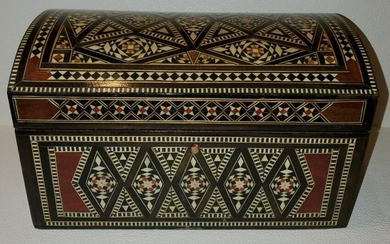 Moroccan Inlay Jewelry Box W/Suede Interior