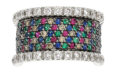 Multi-Stone, Diamond, Colored White Gold Ring The ring features...