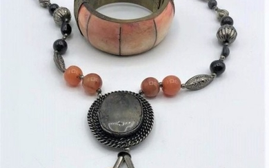 Natural Stone Bracelet, Costume Beaded Pendant Necklace