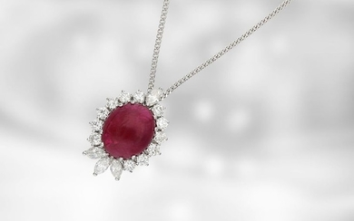 Necklace: handmade ruby pendant with diamonds and white...