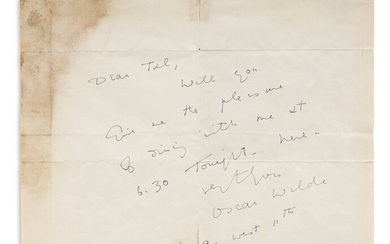 OSCAR WILDE (1854 1900) Autograph Note Signed to Dear Ted [T