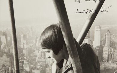 Oscar Graubner, Margaret Bourke-White atop the Chrysler Building (close up)