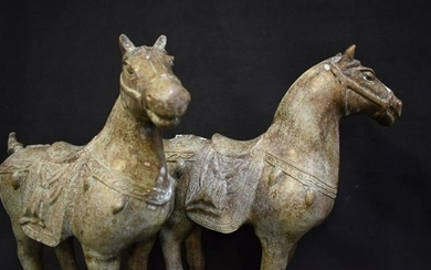 PAIR OF ANTIQUE METAL CHINESE HORSE FIGURES
