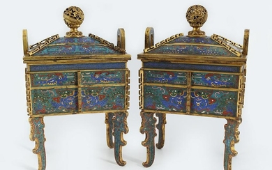 PAIR OF CHINESE QING CLOISONNÉ ENAMELLED CENSERS