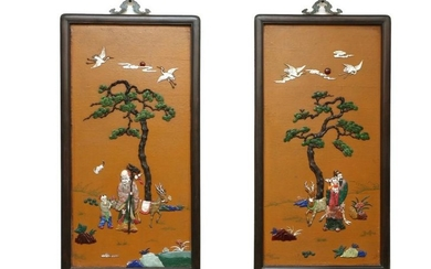 PAIR OF ZITAN WOOD SCREEN WITH CARVING