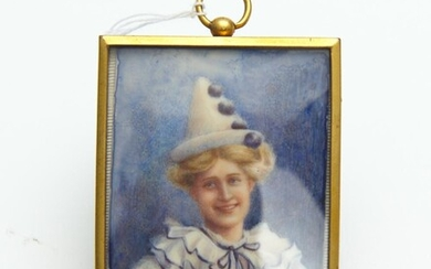 PORTRAIT MINIATURE DEPICTING WOMAN DRESSED AS PIERRETTE BY MURIEL WADDY, 6.5CM X 5CM, LEONARD JOEL LOCAL DELIVERY SIZE: SMALL
