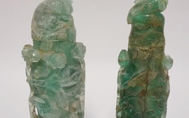 PR OF ASIAN CARVED GREEN QUARTZ STATUES ON CARVED