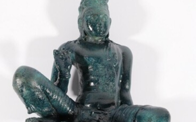 Painted Solid Bronze Figure Of Guanyin In a Seated Position L: 52cm