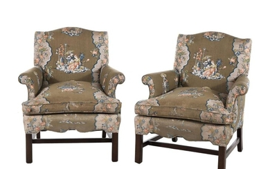 Pair Chippendale style upholstered mahogany armchairs