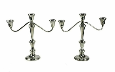 Pair Wallace Weighted Sterling Silver Candleabras