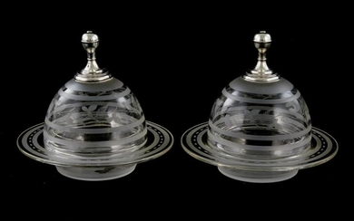 Pair etched glass and silver-mounted dishes