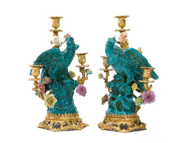 Pair of 19th C. Chinoiserie Porcelain & Bronze