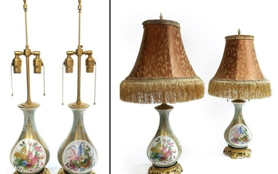 Pair of 19th C French Porcelain Bronze Mounted Lamp