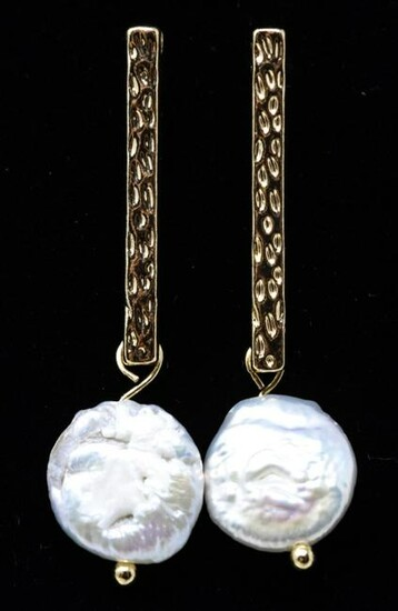 Pair of 9mm Coin Form Pearl Pendant Earrings