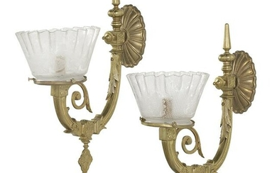 Pair of American Brass and Glass Gas-Type Sconces