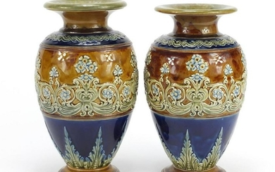 Pair of Doulton Lambeth stoneware vases, hand painted