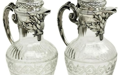 Pair of French Silver and Cut Glass Claret Jug / Wine