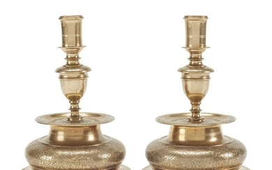 Pair of Nuremberg engraved brass candlesticks German, circa 1650...