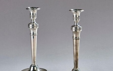 Pair of silver candleholders decorated with roses and palmettes. Marked Vieillard (1819-1938).