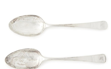 Pair of silver serving spoons associated with the Evans...
