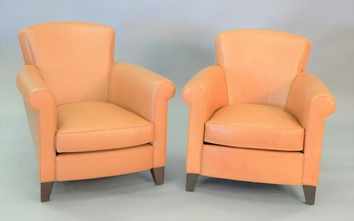Pair of tan leather upholstered contemporary club