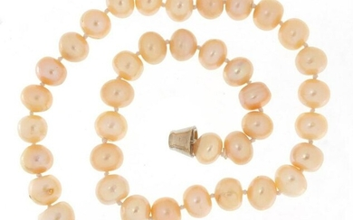 Pink cultured pearl necklace with magnetic clasp, 40cm